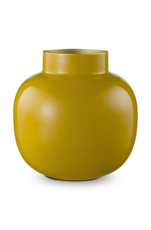 Vase Metal Round Yellow 25cm