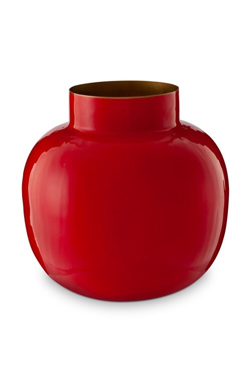 Vase Metal Round Red 25cm