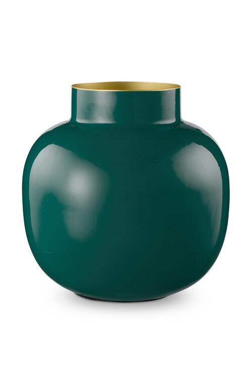 Vase Metal Round Dark Green 25cm