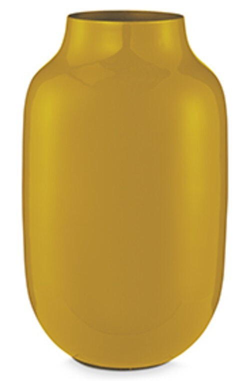 Vase Metal Oval Yellow 30cm