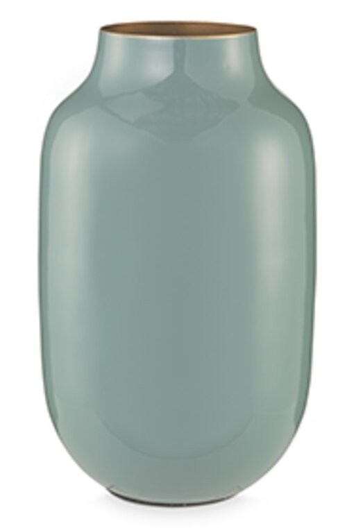 Vase Metal Oval Blue 30cm