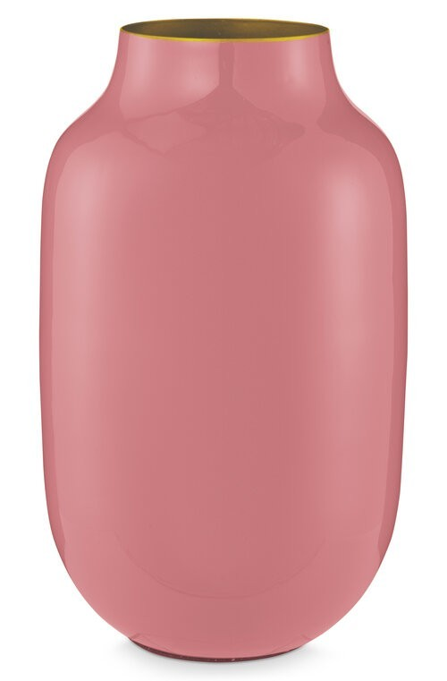 Vase Metal Oval Old Pink 30cm