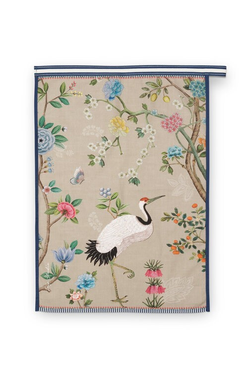 Tea Towel Blushing Birds All Over Print Khaki 50x70cm