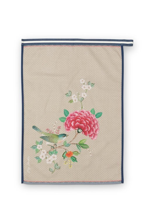 Tea Towel Blushing Birds Khaki  50x70cm