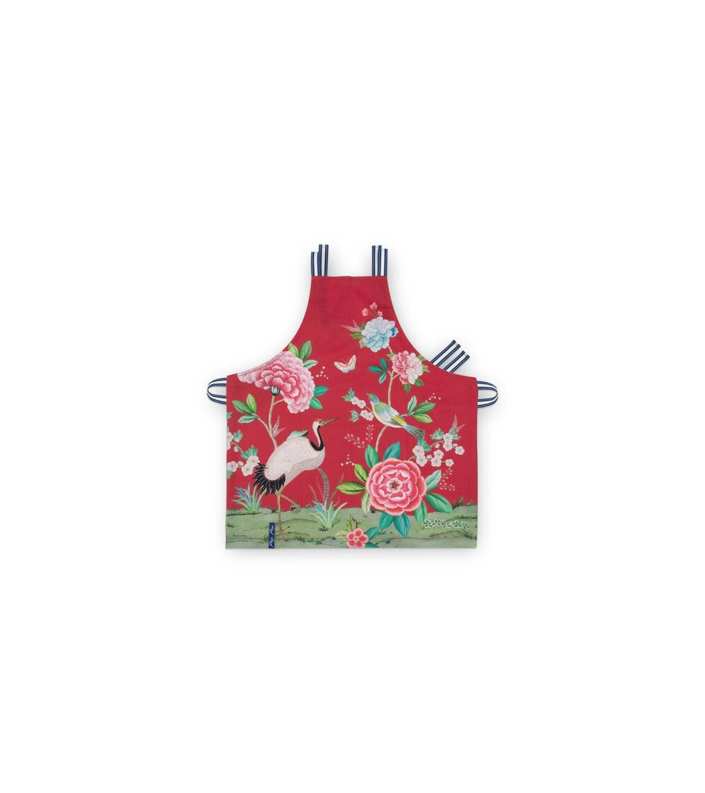 Apron Blushing Birds All Over Print Red 85x88cm