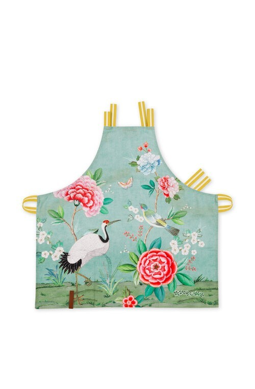 Apron Blushing Birds All Over Print Blue 85x88cm