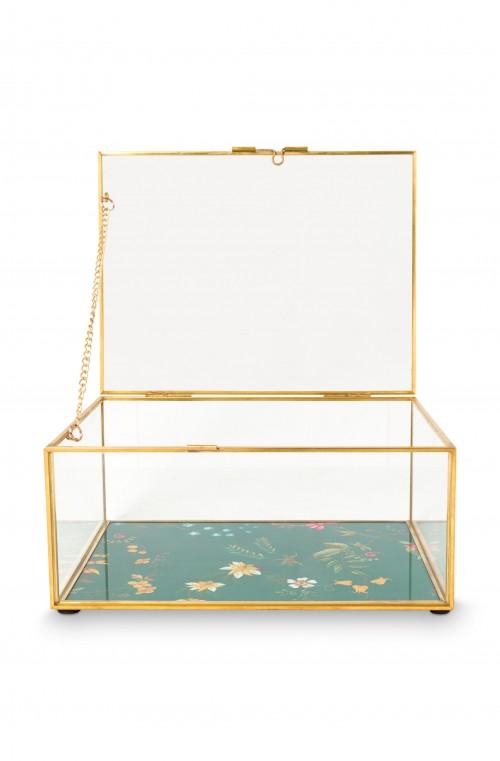Storage Box Glass Varnished Bottom Gold S 21x16.5x5.5cm