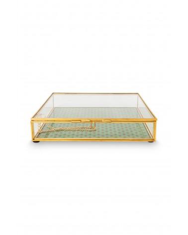 Storage Box Glass Varnished Bottom Gold Square 21x21x4cm