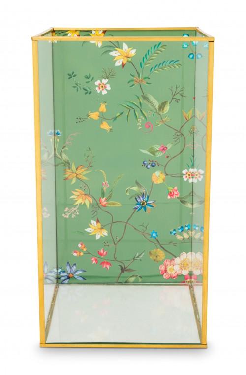 Storage Box Glass Varnished Bottom Gold Tall 16x16x30cm