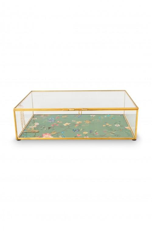 Storage Box Glass Varnished Bottom Gold M 21x33x9cm