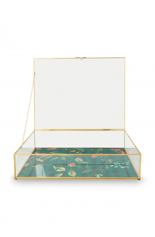 Storage Box Glass Varnished Bottom Gold XL 42x33x9cm