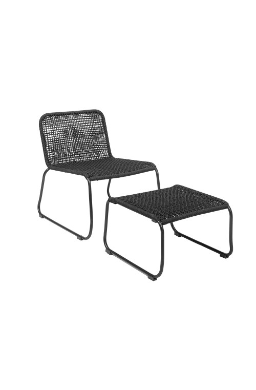 Mundo Lounge Chair w/Footrest, Black, MetalL58xH77xW73 cm, Set of 2