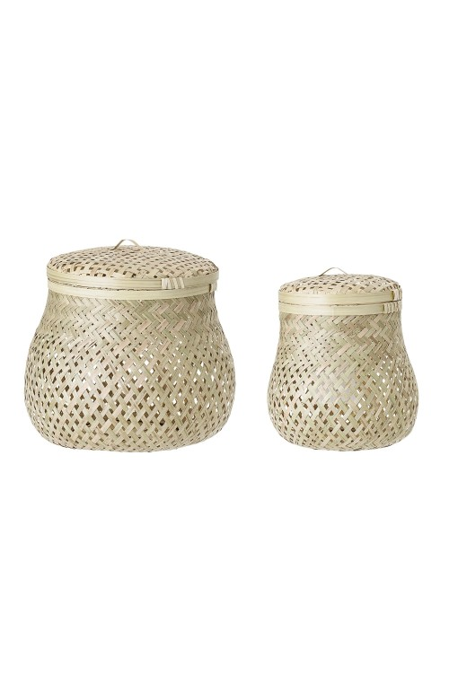 Basket w/Lid, Nature, BambooØ18xH22/Ø25xH24 cm, Set of 2