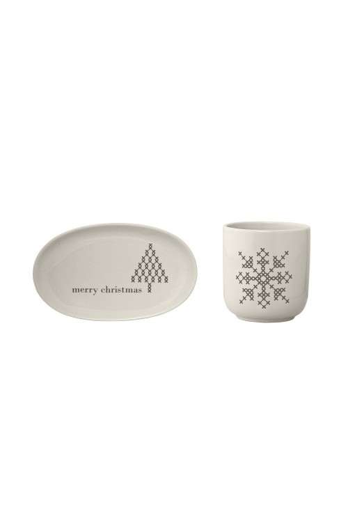 CrossCup&Plate,White,Ston