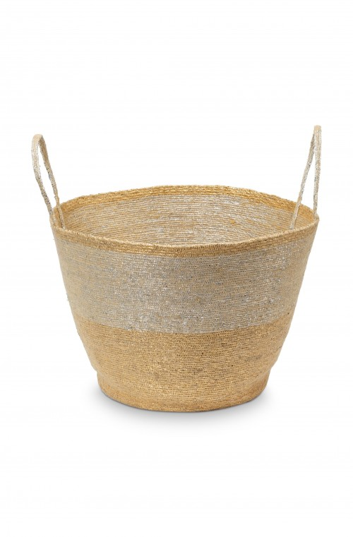 Basket with Handles Round Gold