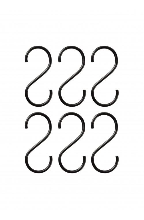 Set/6 S-hooks ΜΑΥΡΟ Small