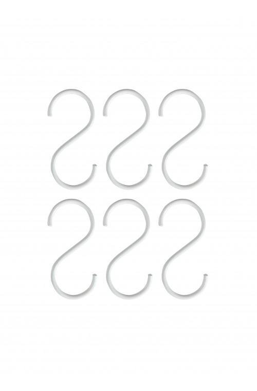 Set/6 S-hooks White Small