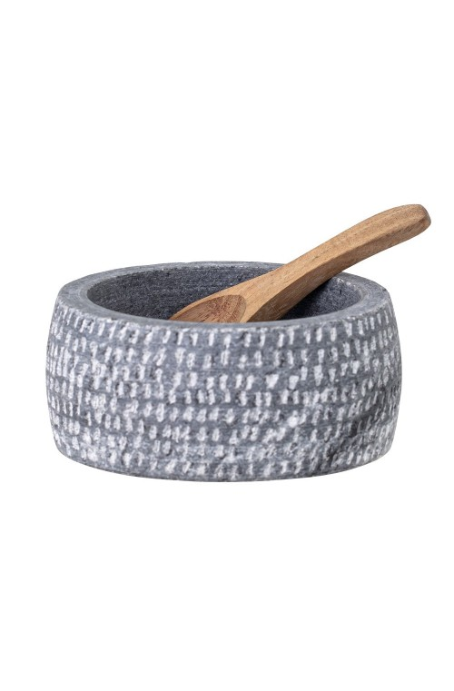 Bowl w/Spoon, Grey, Granite10